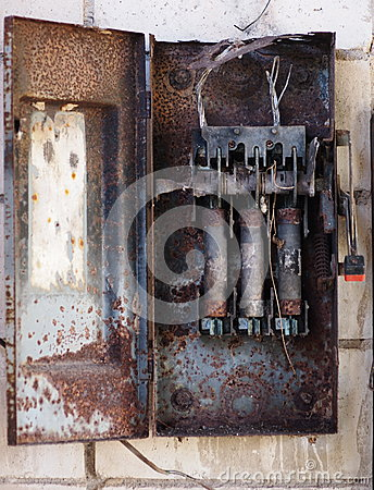 old fuse box on the wall stock photo image 42836740