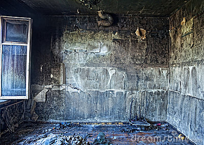 Burned interior