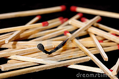 Burned match stick
