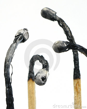 Burned Match Sticks Stock Photo