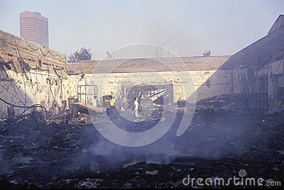 Burned out business after riots Editorial Stock Photo