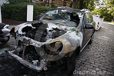 Burned out Porsche Cayenne Editorial Stock Photo