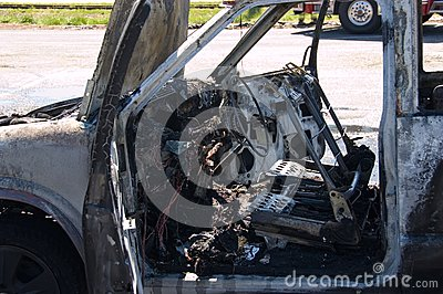 Burned out truck interior