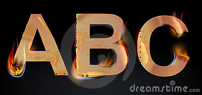 Burning ABC letters