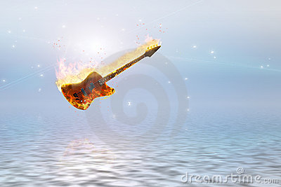 Burning bass guitar over clean pure ocean