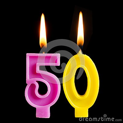 Free Burning Birthday Candle In The Form Of 50 Fifty Figures For Cake Isolated On Black Background. The Concept Of Celebrating A Birthd Stock Photos - 115210033