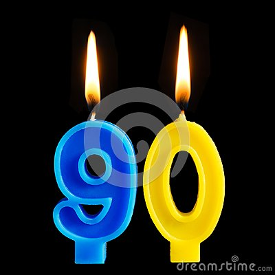 Free Burning Birthday Candles In The Form Of 90 Ninety Figures For Cake Isolated On Black Background. The Concept Of Celebrating A Birt Royalty Free Stock Image - 115210146
