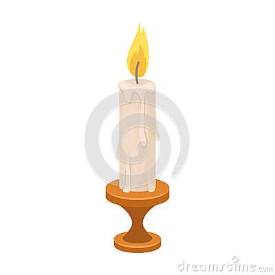 Free Burning Candle From Paraffin Wax. Easter Single Icon In Cartoon Style Rater,bitmap Symbol Stock Illustration. Stock Image - 91849131