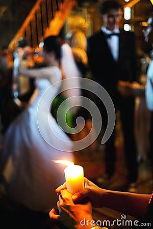 Free Burning Candle Wedding Ceremony Royalty Free Stock Image - 32519116