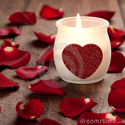 Free Burning Candle With Heart Royalty Free Stock Image - 17425226