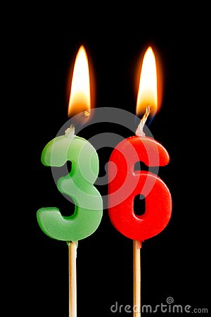 Free Burning Candles In The Form Of 36 Thirty Six Numbers, Dates For Cake Isolated On Black Background. The Concept Of Celebrating A Royalty Free Stock Images - 113976349