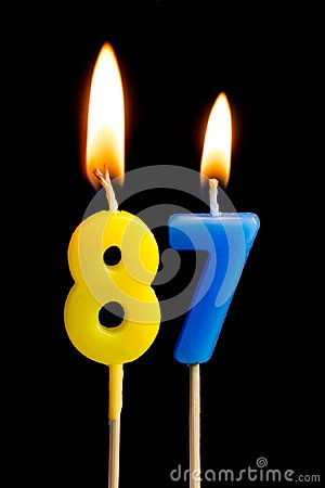 Free Burning Candles In The Form Of 87 Eighty Seven Numbers, Dates For Cake Isolated On Black Background. The Concept Of Celebrating Royalty Free Stock Photos - 114728798