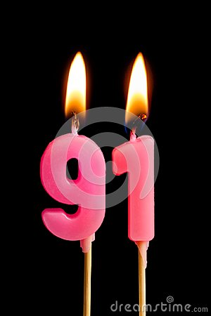 Free Burning Candles In The Form Of 91 Ninety One Numbers, Dates For Cake Isolated On Black Background. The Concept Of Celebrating A Stock Images - 114986374