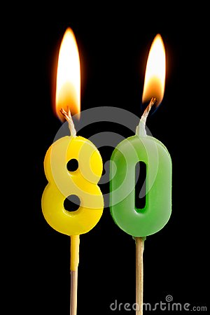 Free Burning Candles In The Form Of Eighty Figures Numbers, Dates For Cake  On Black Background. The Concept Of Celebrating A Stock Image - 112605701