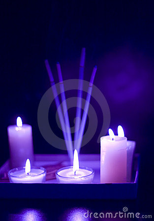 Free Burning Candles Set Stock Photography - 7301672