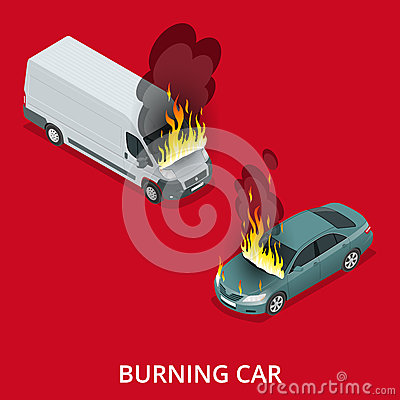 Free Burning Car On The Road. Fire Suddenly Started Engulfing The Car. Royalty Free Stock Photos - 72548368