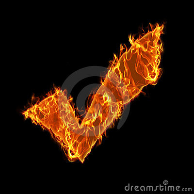 Burning check symbol
