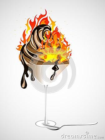 Burning chocolate sundae
