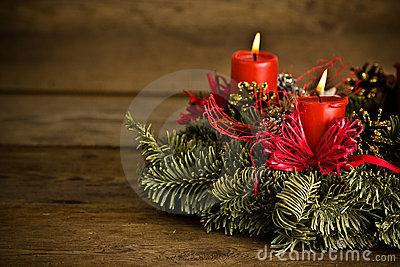 Burning christmas wreath