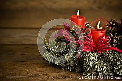 Burning christmas wreath