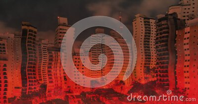 City on fire animation. Burning city. Animation of buildings of the city on fire, heat wave, sparks. Chaotic scenery stock footage