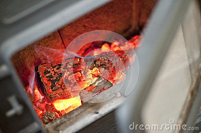 Burning coals of fire wood