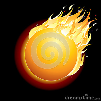 Free Burning Comet On Dark Background. Vector Royalty Free Stock Photos - 30027108