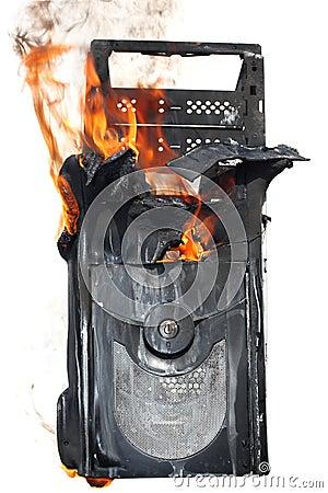 Burning computer case