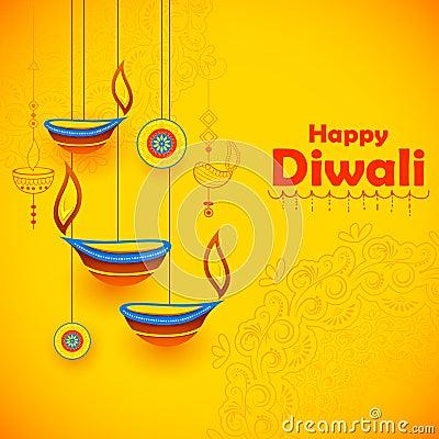 Free Burning Diya On Happy Diwali Holiday Background For Light Festival Of India Stock Photo - 101317180