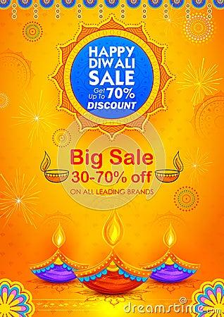 Free Burning Diya On Happy Diwali Holiday Sale Promotion Advertisement Background For Light Festival Of India Royalty Free Stock Photo - 100767275