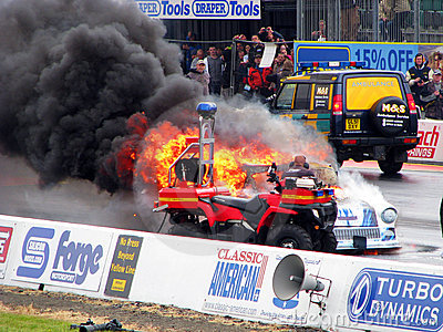 Burning drag car 5 Editorial Stock Image