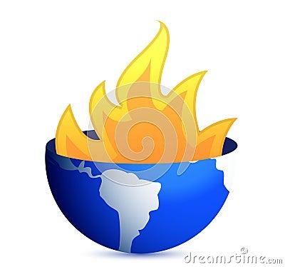 Burning earth globe illustration design