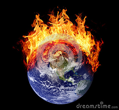 Burning earth globe west hemisphere