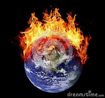 Burning Earth Globe West Hemisphere Stock Photo Image