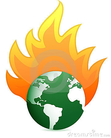 Burning eco earth globe illustration design