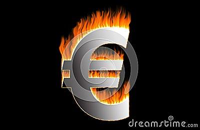 Burning euro Stock Photo