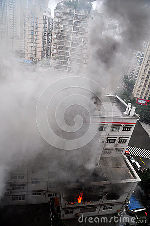 Burning Fire in Building Editorial Image