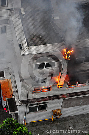 Burning Fire in Building Editorial Stock Photo