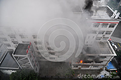 Burning Fire in Building Editorial Photography