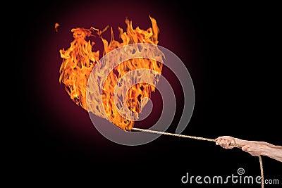 Burning fire heart
