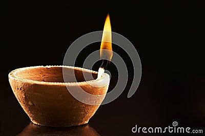 Burning Flame in Earthen Lamp