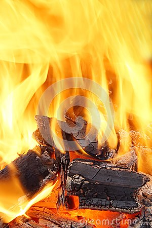 Free Burning Flames And Glowing Coal HDR Stock Photo - 38106930