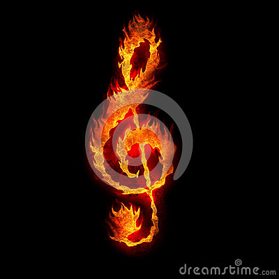 Burning g clef sign