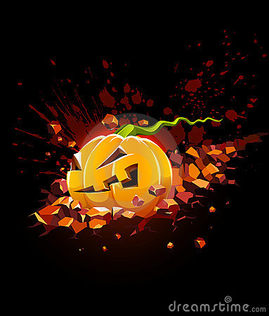 Burning halloween pumpkin falling in stone