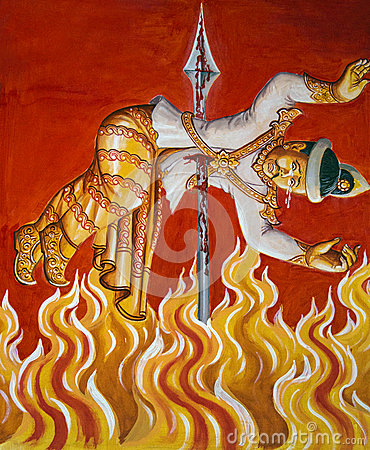 Burning in Hell - Burmese Temple Painting - Burma