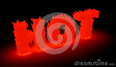 Burning hot word in red