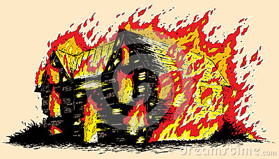 Stock Image Burning House Drawing Image31069891 on living room house plan