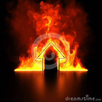 Burning house shape metaphor