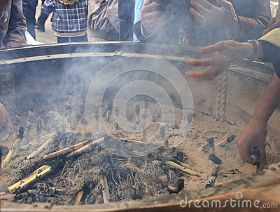 Burning incense in Buddhist temple