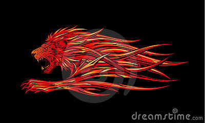 Burning lion
